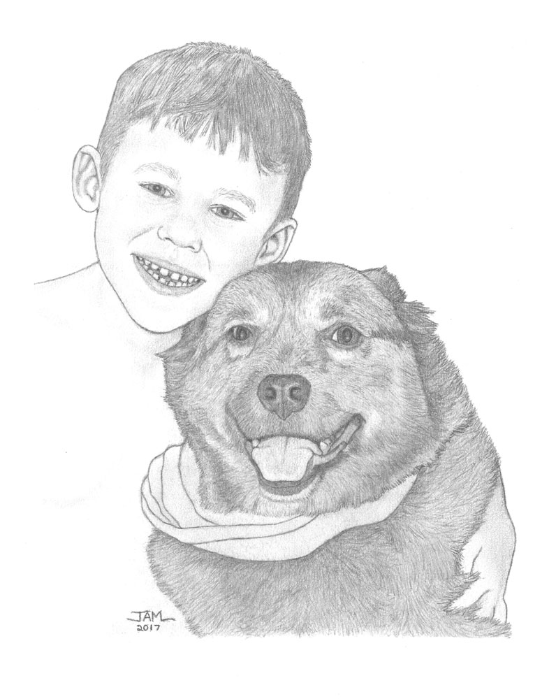 Pencil drawings & sketches of people & pets