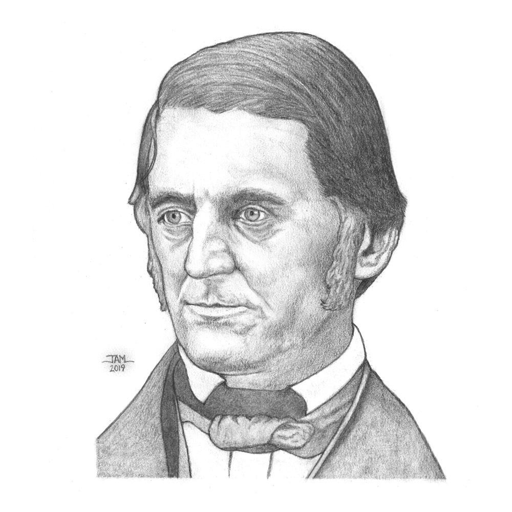 Pencil drawings & sketches of poet Ralph Waldo Emerson